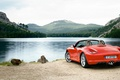 Picture forest, mountains, red, nature, lake, stones, shore, Porsche, red, is, Boxster, wild, cabrio, convertible coupe, ...