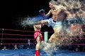 Picture gloves, kick, in the ring