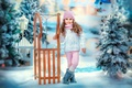 Picture lantern, sled, new year, the fence, winter, snow, holiday, tree, girl