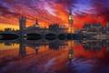 Picture sunset, bridge, London, Britain, Big Ben