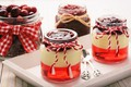 Picture cherry, berry, dessert, sweet, jelly, cream, milk, mousse, pudding, jelly