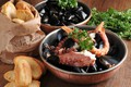 Picture bread, seafood, mussels, octopus