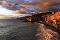Picture sunset, Italy, Liguria, Camogli, travel, basilica, sea, beach, shore, Italy