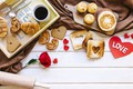 Picture rose, coffee, Breakfast, cookies, gifts, love, rose, coffe, valentines day