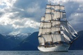 Picture montain, sky, Navy of Brazil, Navy, Brazil, sailboat, sea, Cisne Branco, White Swan, Sailboat White ...