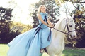 Picture lawn, horse, photoshoot, Reese Witherspoon, smile, trees, blonde, dress, white, the sun, Harper's Bazaar, hairstyle, ...