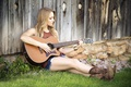 Picture Blondie, legs, grass, guitar, girl, boots, shorts