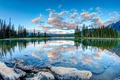 Picture stones, Canada, the sky, clouds, forest, Pyramid Lake, lake, Alberta, trees, mountains
