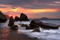 Picture stones, Lazovsky nature reserve, rocks, The sea of Japan, dawn