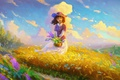 Picture clouds, the sky, field, mood, smile, the wind, basket, art, hat, flowers, girl