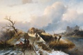 Picture landscape, oil, picture, canvas, Charles Rochussen, The return from the Hunt