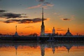 Picture sunset, the crimson sun, Petropavlivka, Peter and Paul fortress St.petersburg, fortress, temple, angel, spire, St. ...