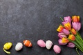 Picture decoration, colorful, pink tulips, Easter, pink, Easter, tulips, tulips, happy, the painted eggs, flowers, spring, ...