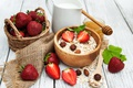 Picture strawberry, breakfast, fresh berries, muesli, Breakfast, berries, muesli, milk