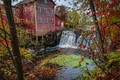 Picture autumn, forest, trees, river, waterfall, USA, water mill, Wisconsin, Augusta