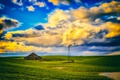 Picture windmill, field, house