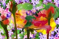 Picture leaves, line, flowers, paint, petals