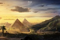 Picture clouds, peaceful, the sky, mountains, pyramid, palm trees