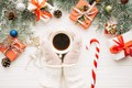 Picture holiday, new year, coffee, gifts, decor, caramel, fir-tree branches