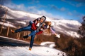 Picture road, guy, mountains, snow, girl, joy