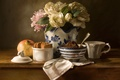Picture flowers, bouquet, cookies, still life, garnet, Gardenia