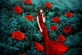 Picture style, flowers, girl, mood, Maria Eugenia, roses, red dress