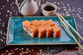 Picture rolls, sauce, sesame, salmon