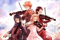 Picture art, guy, music, violin, anime, girls