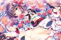 Picture yukata, roses, paper cranes, girl