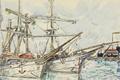 Picture figure, ship, port, watercolor, Saint-Malo, Paul Signac