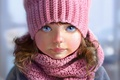 Picture knitted, pink, scarf, art, grey background, hat, face, Nutsa, blue eyes, freckles, girl, portrait