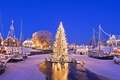 Picture Christmas, lights, winter, Germany, Carolinensiel, floating tree, snow, holiday, boat