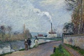 Picture landscape, house, river, smoke, picture, pipe, promenade, Camille Pissarro, The Oise in PONTOISE. Cloudy Weather