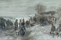 Picture figure, watercolor, genre, Charles Rochussen, French Troops Crossed The Frozen River