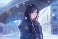 Picture winter, snow, umbrella, anime, art, girl, Vu Nguyen, Winter Love
