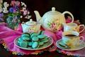 Picture cookies, pasta, tea, still life, kettle, flowers