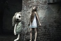 Picture the city, barefoot, nightie, wall, doll, girl, sleep