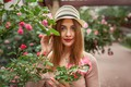 Picture flowers, model, portrait, hat, makeup, hairstyle, redhead, the bushes, bokeh, roses, A Diakov George, Georgy ...