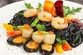 Picture scallops, shrimp, pasta, black, seafood, shellfish, caviar