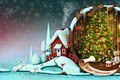 Picture candles, holiday, art, winter, toys, tree, drum, snowflakes, rabbits, smoke, plush, house, fireplace, socks, snow, ...