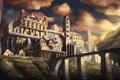 Picture the sky, clouds, mountains, bridge, castle, concept, tower, morning castle