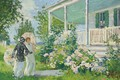 Picture girl, landscape, flowers, picture, umbrella, Gifford Beal, Summer Cottage, Gifford Beal
