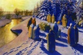 Picture Lazarev Jury, burning, Funeral, river, the sun, paganism