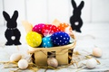 Picture colorful, bunny, Easter, Easter, happy, basket, the painted eggs, holiday, spring, eggs