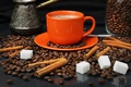 Picture orange, coffee, grain, mug, sugar, cinnamon, Turk