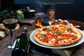 Picture fire, kitchen, hut, oven, bokeh, pizza, wine, glass, table, bottle