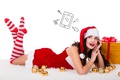 Picture balls, new year, white background, makeup, hat, Christmas, smile, lies, stockings, dress, thoughts, ribbons, maiden, ...