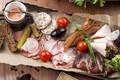 Picture cucumber, meat, tomato, olives, sauce, appetizer, basturma