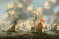 Picture ship, oil, picture, Tree, sail, battle, The burning of the English Fleet in Chatham, Peter ...