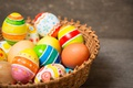 Picture basket, colorful, wood, basket, Easter, Easter, happy, the painted eggs, holiday, eggs